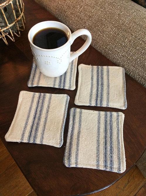 Grain Sack Coasters | Blue 12 Stripe | Beige Fabric | Set of 4