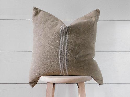 Pillow Cover - White 9 Stripe | Brown Fabric