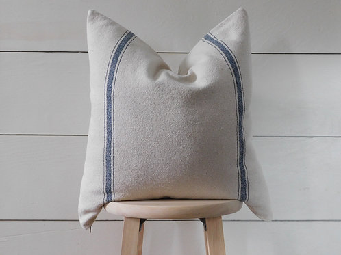 Pillow Cover - Blue 3 Stripe | Beige Fabric