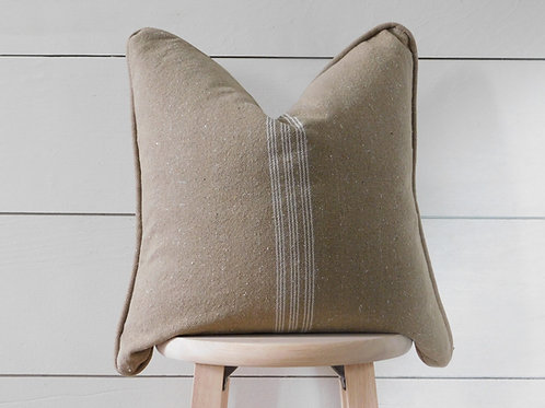 Piped Pillow Cover - White 9 Stripe | Brown Fabric