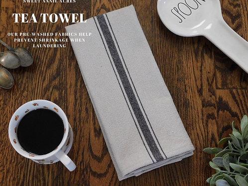 Grain Sack Tea Towel | Farmhouse Tea Towel | Kitchen Towel | Black 3 Stripe