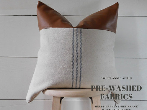 Faux Leather Pillow Cover | Blue 9 Stripe | Beige Fabric