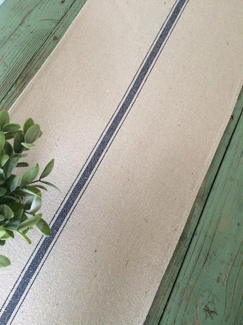 "Table Runner | Beige Grain Sack Fabric | Blue Stripe | 14.5"" Wide"