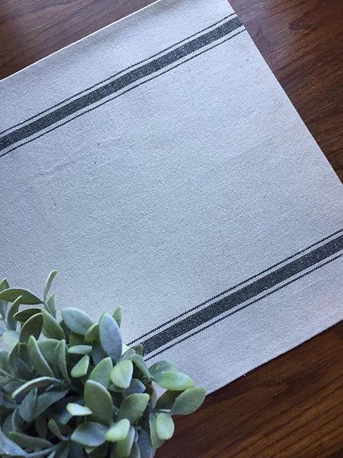 "Grain Sack Table Runner | Natural Grain Sack Fabric | Black Stripe | 15.5"" Wide"