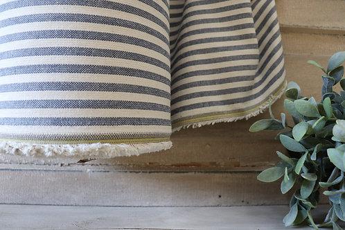 """Linen Blend Farmhouse Fabric   Small Blue & Cream Stripe   54"""" Wide"""