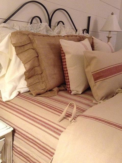 French Laundry Multi Burgundy Stripe Coverlet - Barn Red & Oatmeal