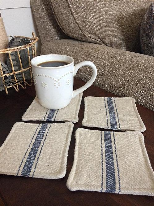 Grain Sack Coasters   Blue 3 Stripe   Beige Fabric   Set of 4