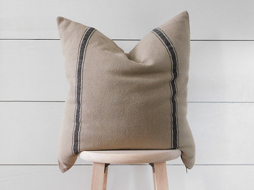 Pillow Cover - Black 3 Stripe | Brown Fabric