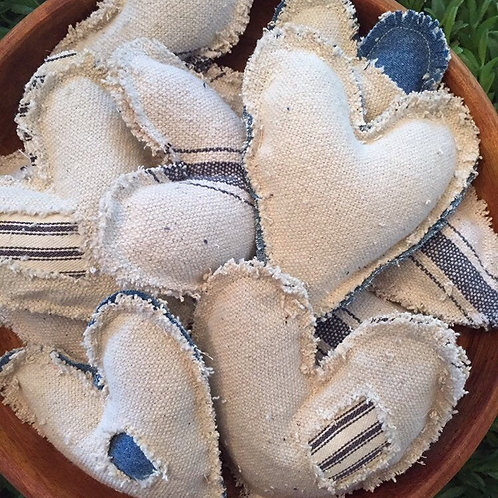 Grain Sack Hearts - Set of 5
