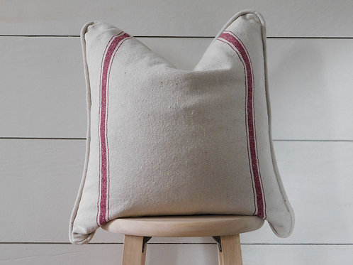 Piped Pillow Cover - Burgundy 3 Double Stripe | Beige Fabric