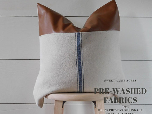 Faux Leather Pillow Cover | Center Blue 3 Stripe | Beige Fabric