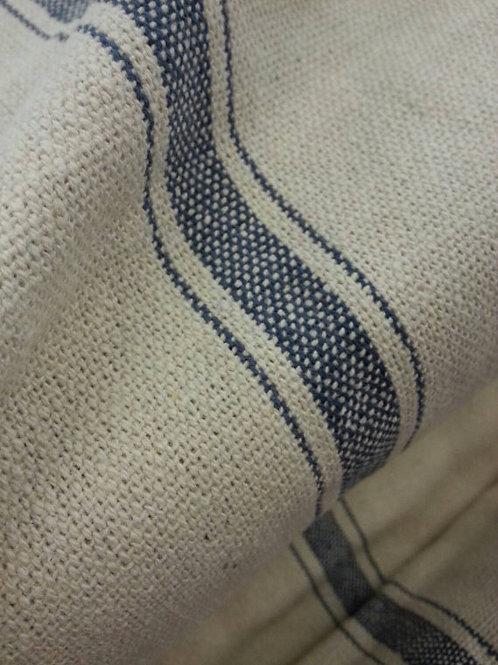 Grain Sack Fabric BY THE YARD - Blue THREE Stripe