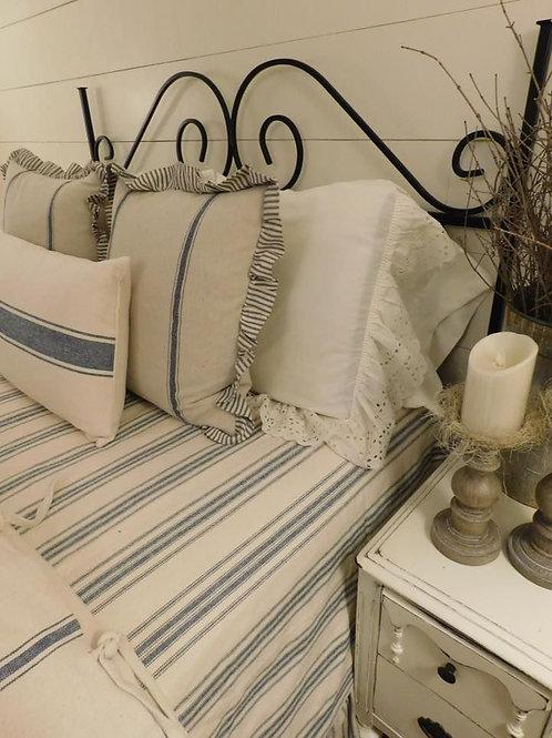 French Laundry Multi Blue Stripe Coverlet - Blue & Cream