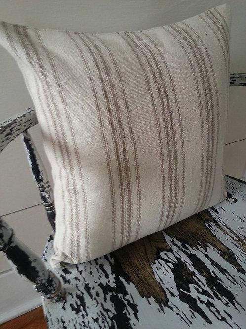 15x15 Pillow Cover - Tan 12 Stripe