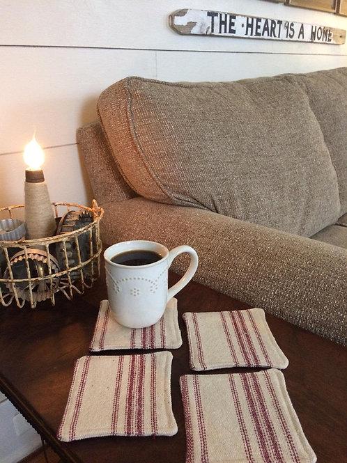 Grain Sack Coasters | Burgundy 12 Stripe | Brown Fabric | Set of 4