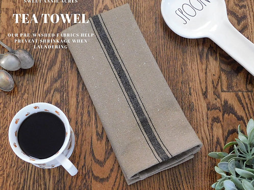 Grain Sack Tea Towel | Farmhouse Tea Towel | Kitchen Towel | Black 3 Stripe