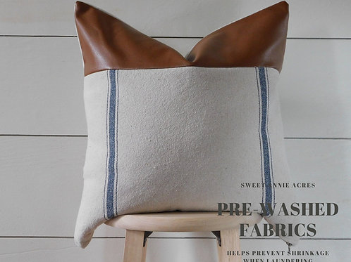Faux Leather Pillow Cover | Double Blue 3 Stripe | Beige Fabric