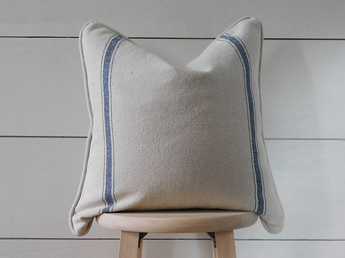 Piped Pillow Cover - Blue 3 Double Stripe | Beige Fabric