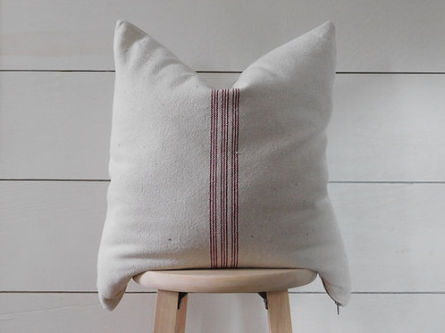 Pillow Cover - Burgundy 9 Stripe | Beige Fabric