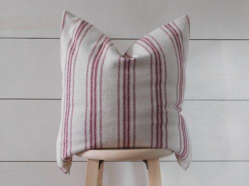 Pillow Cover - Burgundy 12 Stripe | Beige Fabric