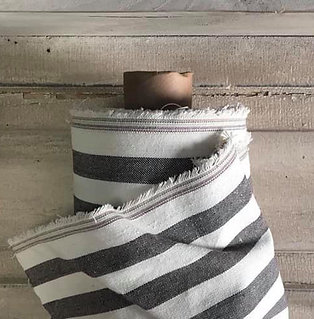 "Linen Blend Farmhouse Fabric | Wide Black & Cream Stripe | 54"" Wide"