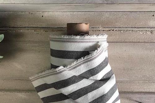 "Linen Blend Farmhouse Fabric   Wide Black & Cream Stripe   54"" Wide"