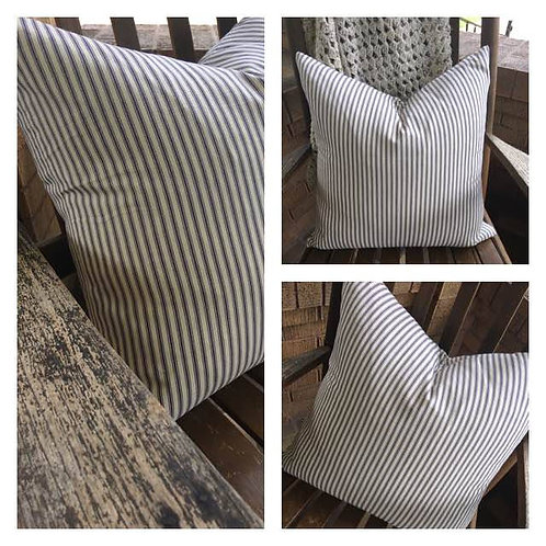 Blue Ticking Striped Pillow Cover