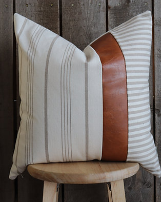 Modern Farmhouse Pillow Cover | Tan Stripe | Faux Leather | 19x19""