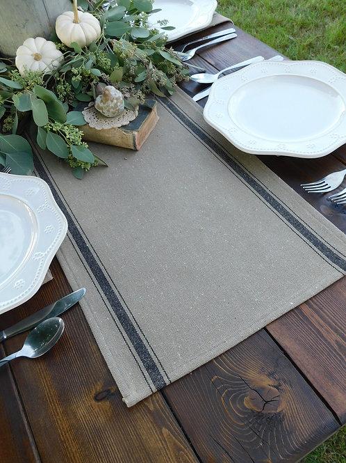 "Grain Sack Table Runner | Brown Grain Sack Fabric | Black Stripe | 15.5"" Wide"