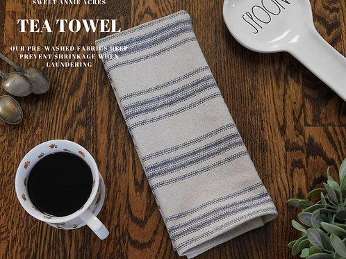 Grain Sack Tea Towel | Farmhouse Tea Towel | Kitchen Towel | Blue 12 Stripe