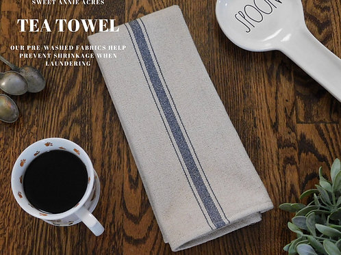 Grain Sack Tea Towel | Farmhouse Tea Towel | Kitchen Towel | Blue 3 Strip