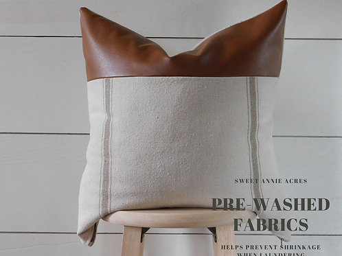 Faux Leather Pillow Cover | Double Tan 3 Stripe | Beige Fabric