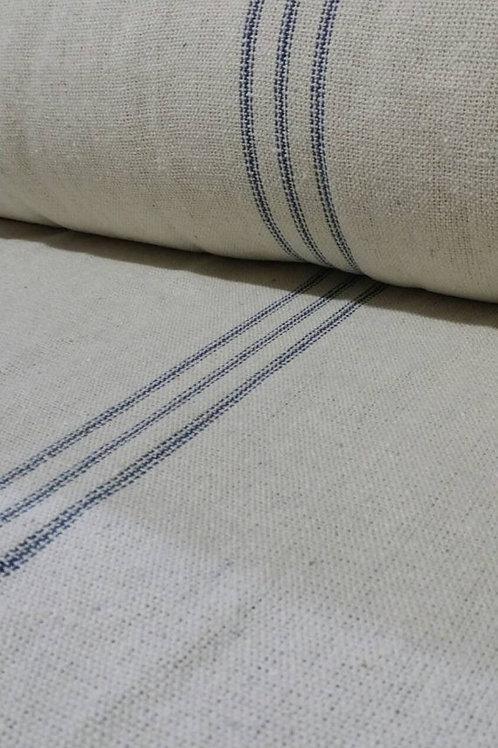 Grain Sack Fabric BY THE YARD - Blue NINE Stripe