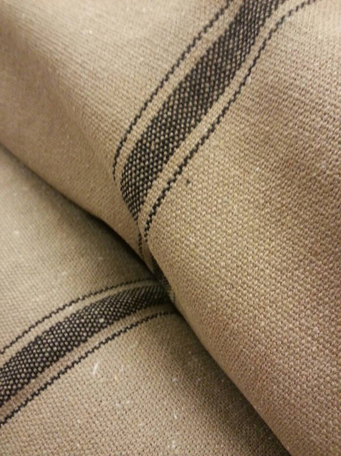 Grain Sack Fabric BY THE YARD | Black THREE Stripe