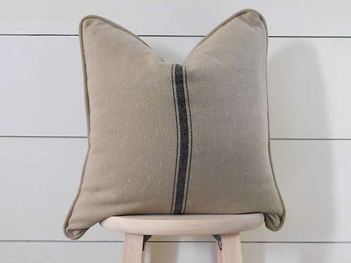 Piped Pillow Cover - Black 3 Center Stripe | Brown Fabric