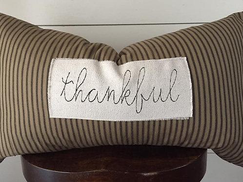 """Thankful Ticking Lumbar Pillow Cover - 16x26"""""""