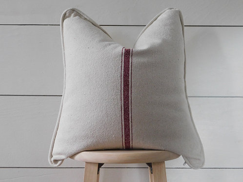 Piped Pillow Cover - Burgundy 3 Center Stripe | Beige Fabric