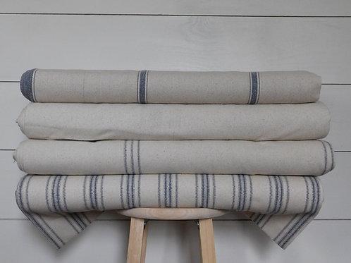 "Grain Sack Fabric BY THE YARD | Blue Stripe | Beige Background | 54"" Wide"