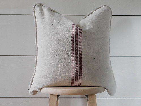 Piped Pillow Cover - Burgundy 9 Stripe | Beige Fabric