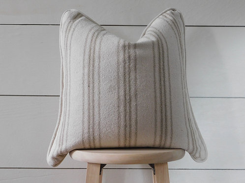 Piped Pillow Cover - Tan 12 Stripe | Beige Fabric