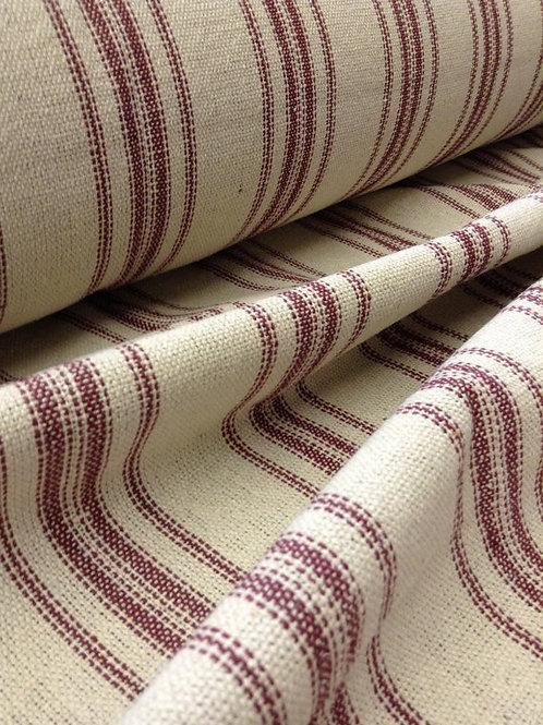 Grain Sack Fabric BY THE YARD - Burgundy TWELVE Stripe