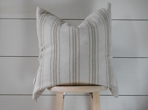 Pillow Cover - Tan 12 Stripe | Beige Fabric