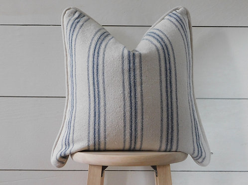 Piped Pillow Cover - Blue 12 Stripe | Beige Fabric