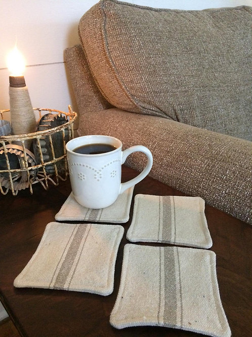 Grain Sack Coasters | Tan 3 Stripe | Beige Fabric | Set of 4