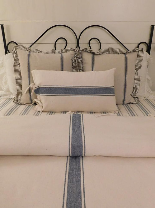 French Laundry Lumbar Pillow Cover - Blue & Cream - Tie Closure