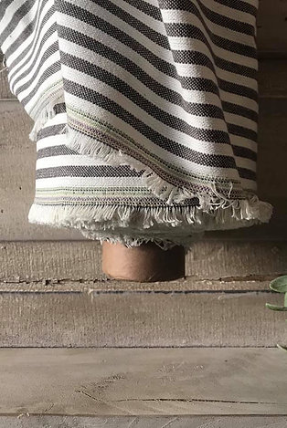 "Linen Blend Farmhouse Fabric | Small Black & Cream Stripe | 54"" Wide"