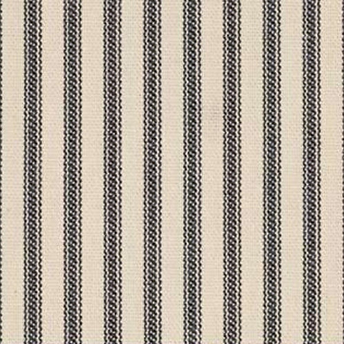 "54"" Wide Black Ticking Fabric  | Cream Background | Medium Weight"