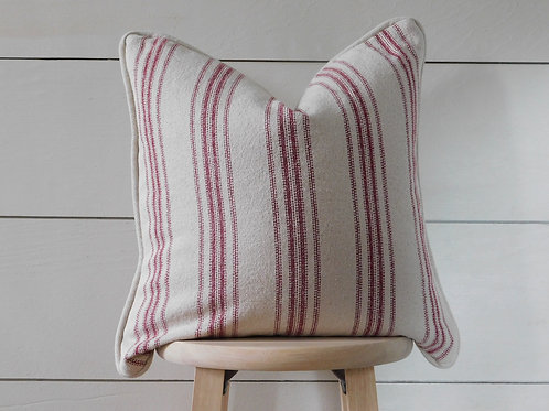 Piped Pillow Cover - Burgundy 12 Stripe | Beige Fabric