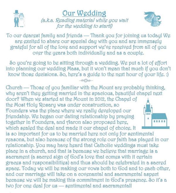 Sample Catholic custom wedding insert