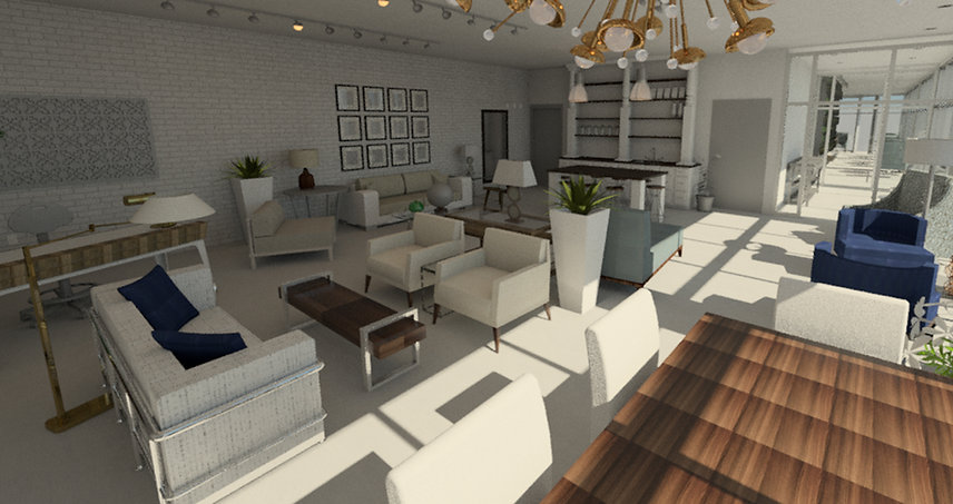 Future furniture, lighting, & accessry rendering